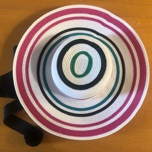 Kate Spade Fiesta Stripe Straw Sun Hat with Ties